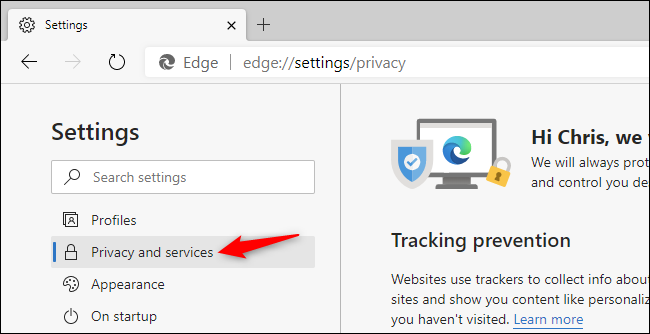 Selecting Privacy and services settings in the Chromium-based Edge browser.