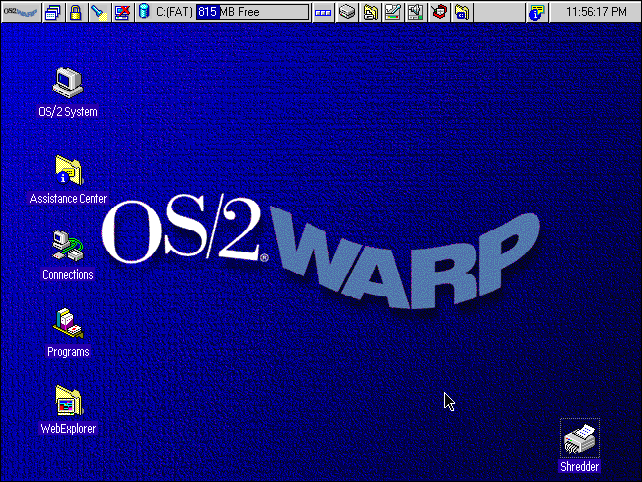 The IBM OS/2 Warp 4 desktop.