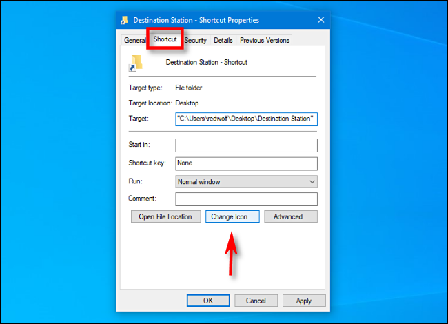 "In ther ""Properties"" window, select the ""Shortcut"" tab and click ""Change Icon"" in Windows 10."