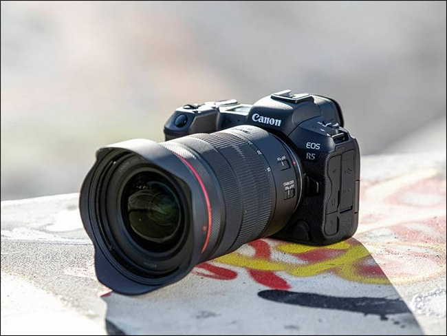 The Canon EOS R5 with a long lens attached.
