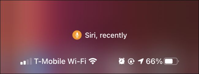 An iPhone Control Center showing Siri recently used the microphone.