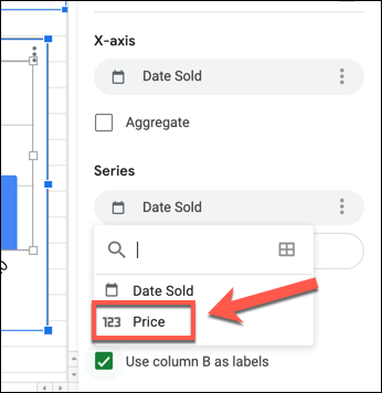 "To change the Y-axis on a Google Sheets chart, select the first column listed under the ""Series"" category in the ""Setup"" tab of the Chart Editor panel and select a replacement column."