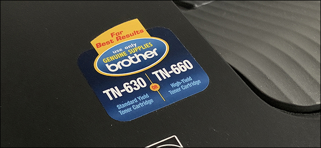 Close up of toner sticker on printer