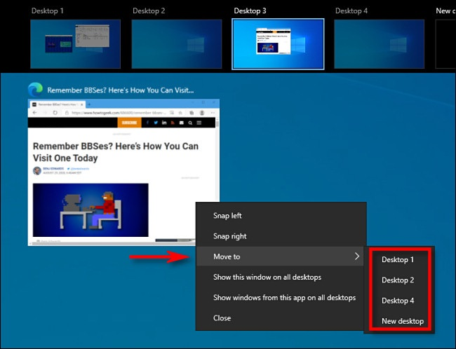 """In Task View on Windows 10, right-click on a window thumbnail and select """"Move to."""""""
