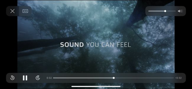 A Dolby Atmos test video playing on an iPhone.