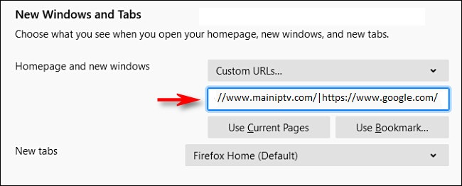 Setting multiple home page tabs in Firefox using the pipe character.