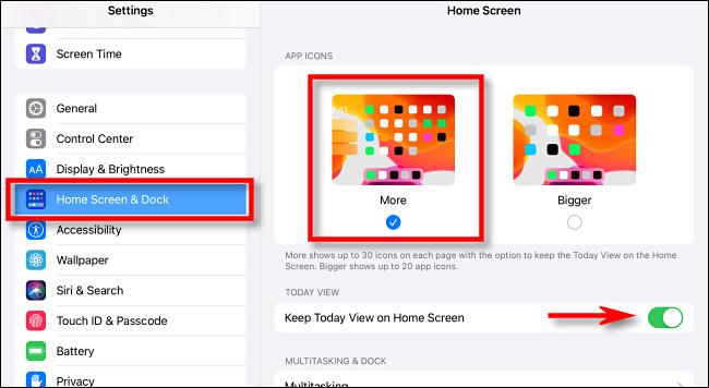 """In iPad Settings, tap """"Home Screen & Dock."""""""
