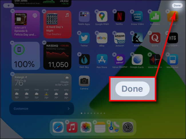 """When you're done editing the Today View, tap the """"Done"""" button."""