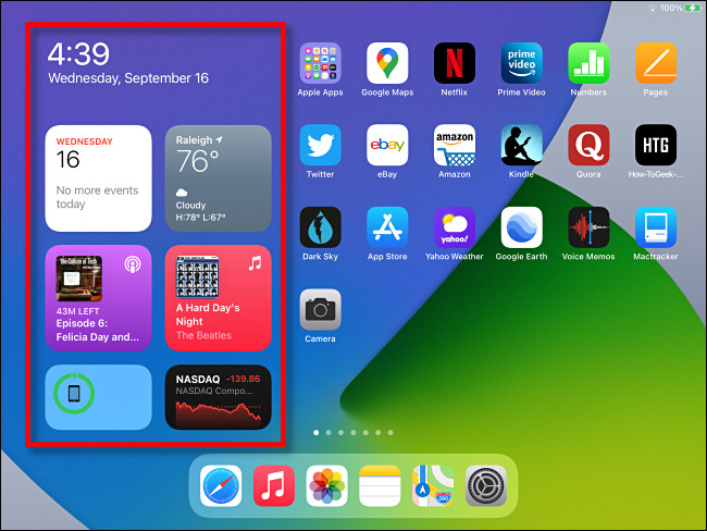 """The """"Today View"""" widget area as seen on the iPad Home Screen in iPadOS 14."""