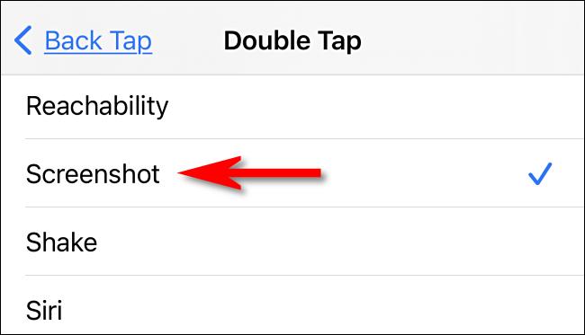 "In Back Tap settings, select ""Screenshot"" on iPhone."