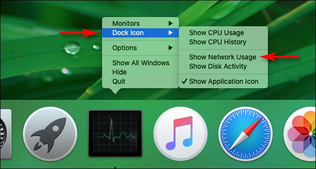 "Select ""Show Network Usage"" in Mac Activity Monitor Dock Options"