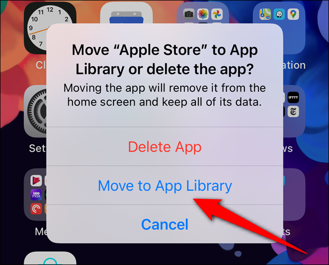 "Select the ""Move to App Library"" button"