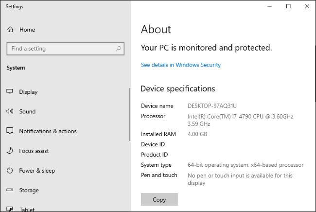 Windows 10's Settings > System > About page.