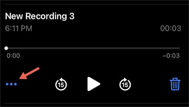 Tap three-dots menu on iPhone Voice Memos