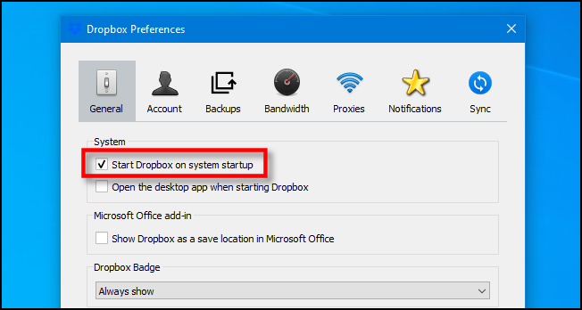 "Uncheck ""Start Dropbox on system startup"" on Windows 10."