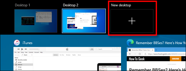 "Select ""New Desktop"" in Task View on Windows 10."