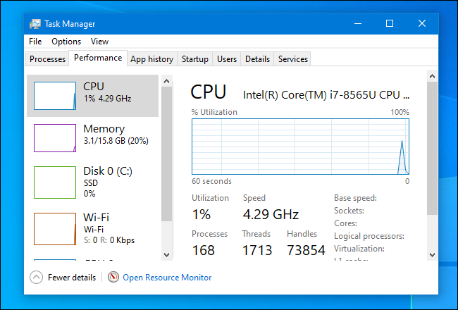 "The ""Performance"" tab in Task Manager on Windows 10."