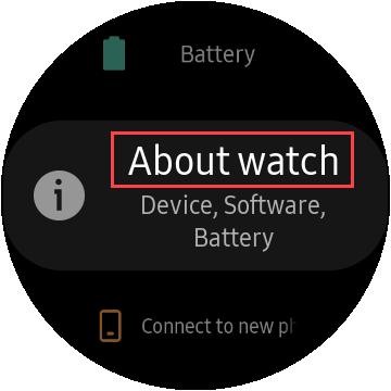 samsung watch tap about watch