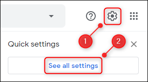 """The Settings cog and the """"See all settings"""" button."""
