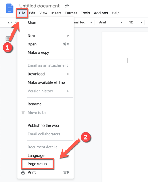 To access your Google Docs document settings, press File > Page Setup.