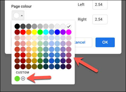 """Select a preset color from the """"Page Color"""" drop-down menu, or press the add button in the """"Custom"""" section."""