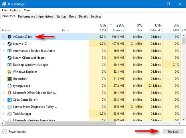 """To kill a process in Task Manager for Windows 10, select the process from the list and click """"End task."""""""