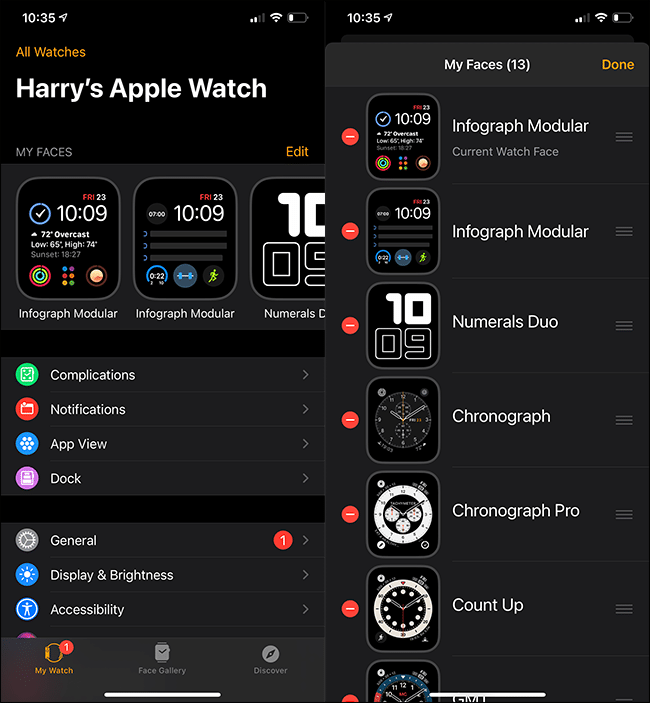 "The ""All Watches"" menu on an iPhone."