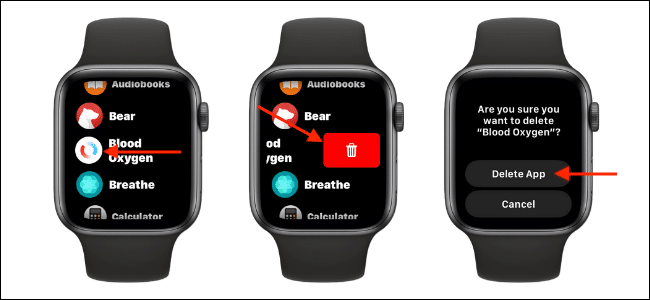 Delete Blood Oxygen App from List View on Apple Watch