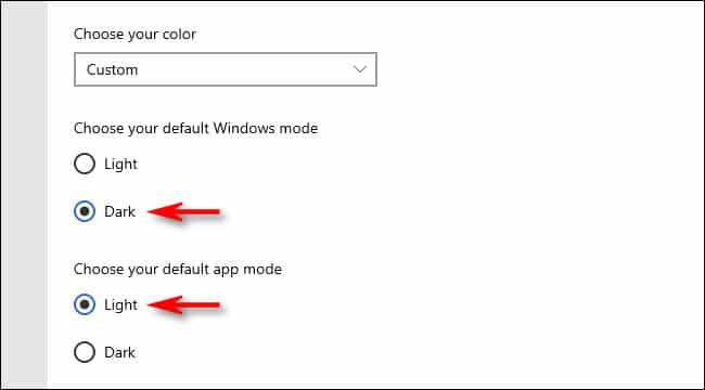"In Colors settings, choose ""Dark,"" then choose ""Light."""
