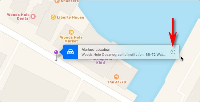 "Place a pin in Apple Maps on Mac and click the ""info"" button."