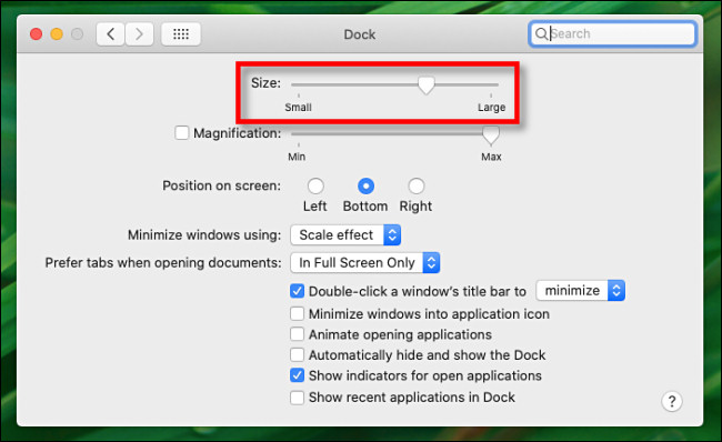 """In Dock Preferences on Mac, use the """"Size"""" slider to change the size of the Dock."""