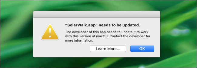 A 32-bit app warning in macOS 10.15 Catalina