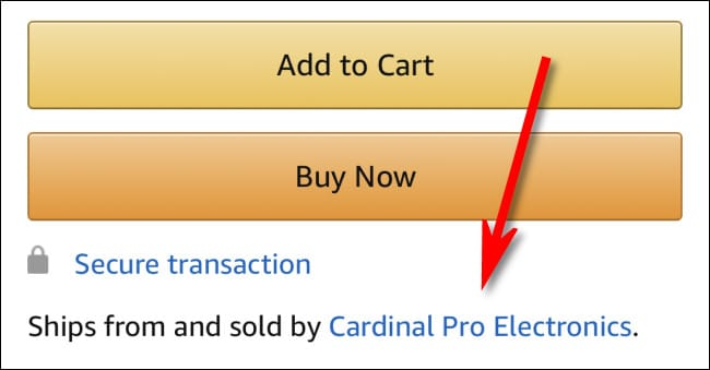"A listing for a product ""Sold from and Shipped by Cardinal Pro Electronics"" in the Amazon App."