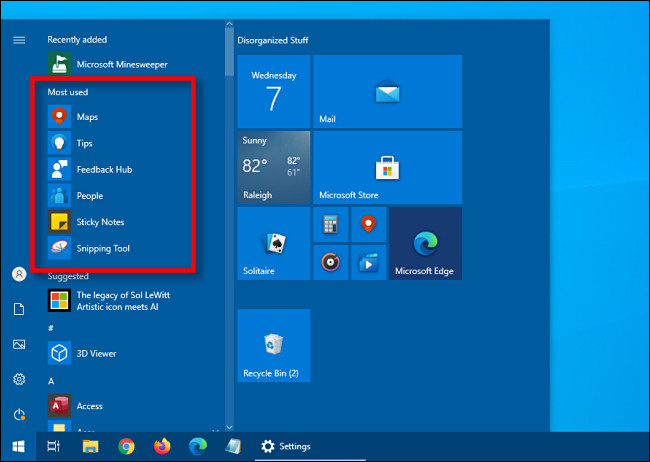 """The """"Most used"""" apps list in the Windows 10 Start menu"""