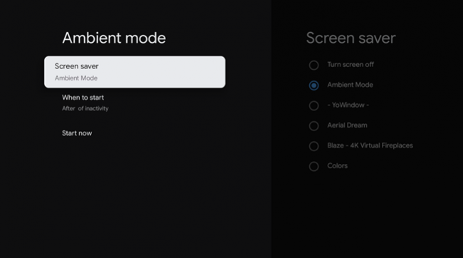 ambient mode screen saver settings