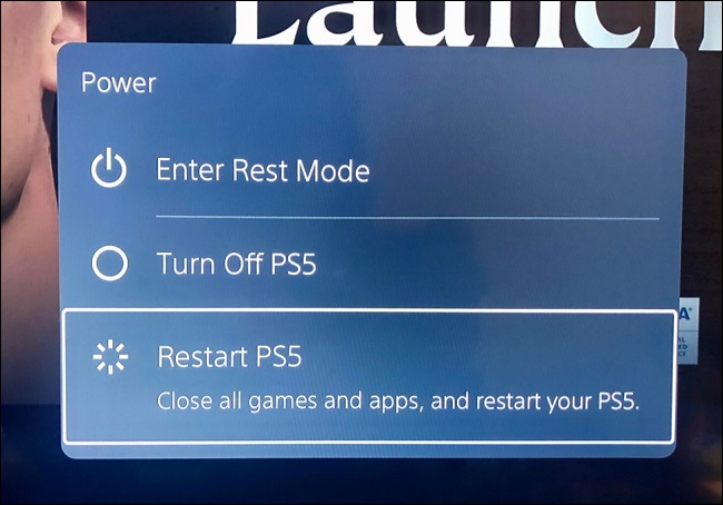 restart ps5 in power options menu
