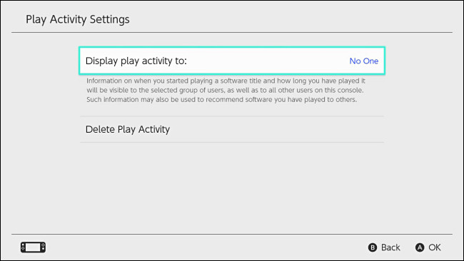 "Nintendo Switch ""Display play activity to"" setting set to ""No one."""