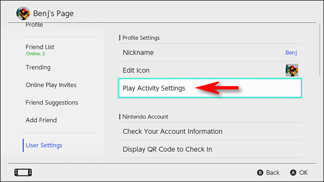 "In Nintendo Switch User Settings, select ""Play Activity Settings."""