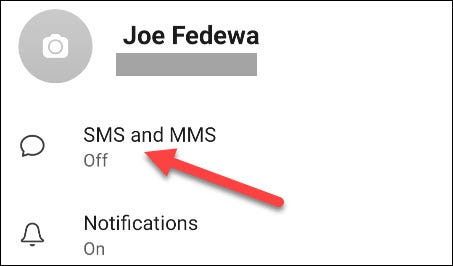 Select SMS and MMS