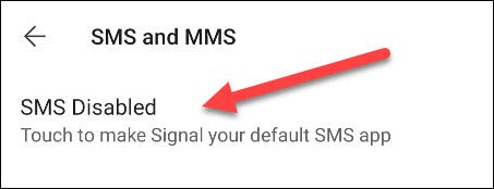 SMS Disabled