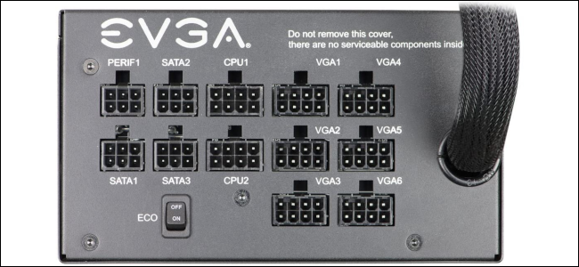 The various plug options on a semi-modular power supply.