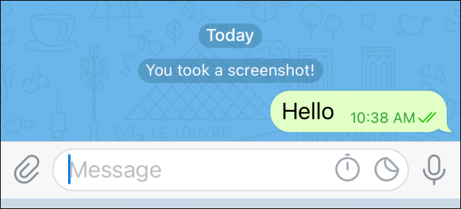 A notification that a screenshot was taken of the encrypted chat