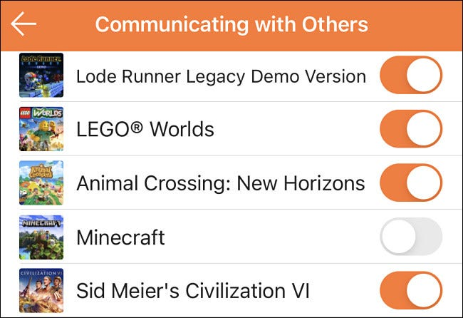 """An example of enabling or disabling """"communicating with others"""" for certain games in Switch parental controls."""