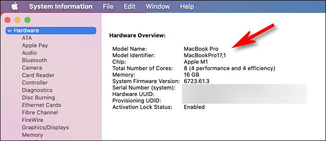 Mac System Information Hardware Overview page