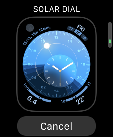 Solar Dial Watch Face in watchOS 7
