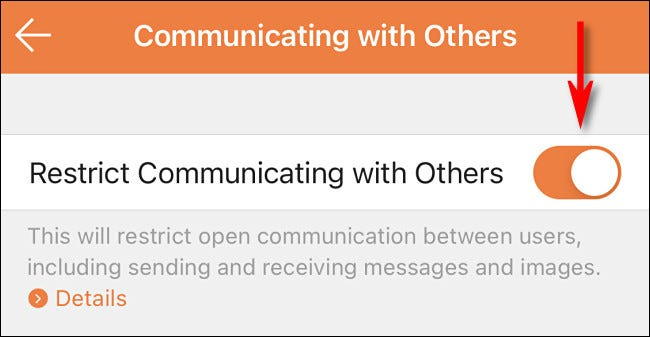 """In the Nintendo Switch Parental Controls app, enable """"Restrict Communicating with Others."""""""