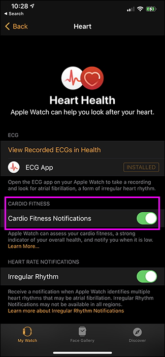 cardio fitness notifications toggle