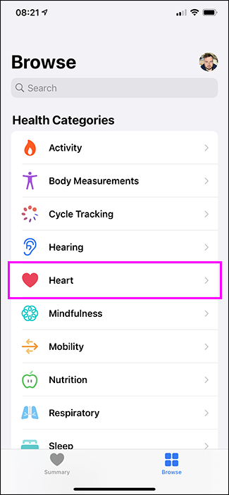 heart option in health app