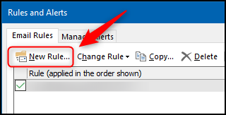 "The ""New Rule"" option in the ""Rules and Alerts"" panel."