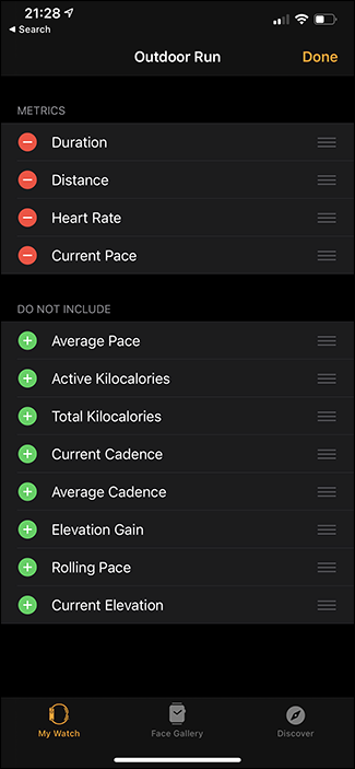 customizing which metrics are display on apple watch app